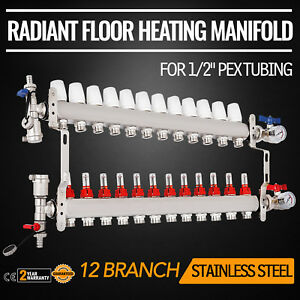 12 Loop branch 1 2 Pex Manifold Stainless Steel Radiant Floor Heating Set Us