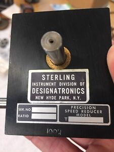 Sterling Instrument Designatronics Stock Drive 100 1 Worm Gear Speed Reducer