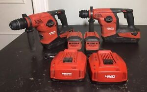Hilti Te 30 A36 36v Li ion Rotary Hammer Drill 2 Sets With Chargers 4 Batteries