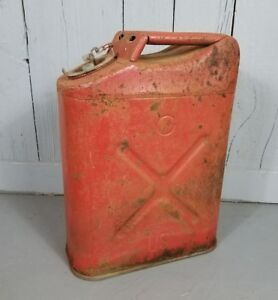 Vintage Us Military Red Metal Gasoline Gas Jerry Can 5 Gallon Willy s Jeep Blitz