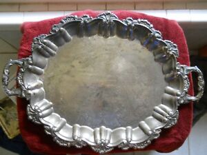 International Silver Company Large Silver Plated Footed Serving Platter Handles