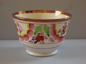 Lustre Pink Luster Lustreware Porcelain Tea Cup Flowers 19th Century