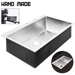 New Stainless Steel Kitchen Sink Single Bowl 33 x 22 Drop In Top Mount 18g