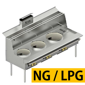 L t All Stainless Steel Customizable 3 Burner Chinese Wok Range nsf Csa Mea