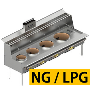 L t All Stainless Steel Customizable 4 Burner Chinese Wok Range nsf Csa Mea