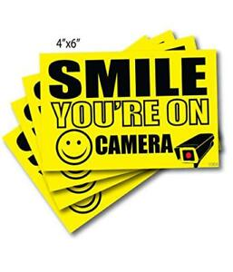 4 4 X 6 Smile Youre On Camera Sticker In Use Decal Security Signs Outdoor