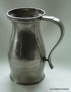 18th Century American Pewter Quart Measure Sealed A Colonial Ny Assize