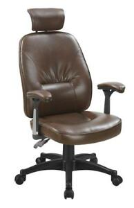 Brown Leatherette Upholstered Office Chair With Black Metal Base 881052