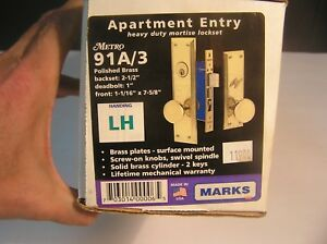 Marks Apartment Entry Heavy Duty Mortise Lockset 91a 3 Brass New