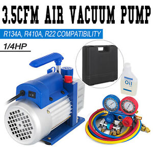 Combo 3 5cfm 1 4hp Air Vacuum Pump Hvac R134a Kit Ac A c Manifold Gauge Set