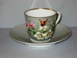 Antique Hand Painted Porcelain Demitasse Cup Saucer Marked B S C M