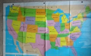First Learners Map By Nystrom 65 X 53 World U S With Grommets For Hanging