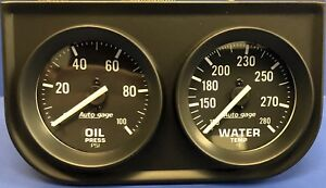 Auto Meter Autogage 2392 Black Two Gauge 2 Consol Oil Pressure Water Temp