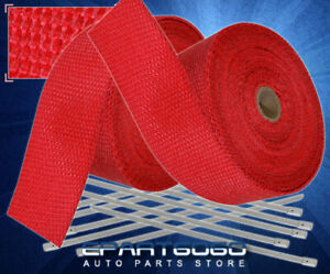 360 Exhaust Header Manifold Heat Wrap Shield Cover Insulation Reduction Set Red