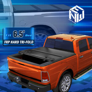 For 09 18 Ram Truck 6 5ft Short Bed Hard Solid Tri Fold Clamp On Tonneau Cover