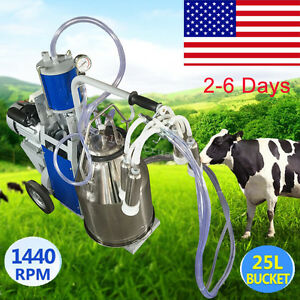Asgreat Milker Electric Piston Vacuum Pump Milk Milking Machine Farm Cows Bucket