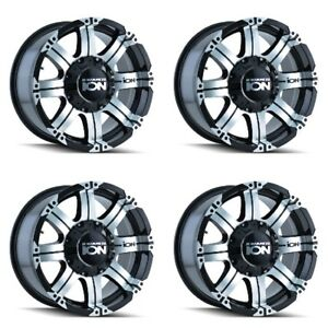 Set 4 18 Ion 187 Black Machined Wheels 18x9 8x180 18mm Chevy Gmc 8 Lug Truck