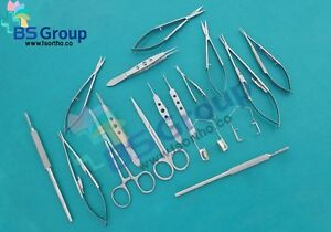 20 Pieces Eye Micro Minor Surgery Set With Ophthalmic Scissors Scalpel Handle