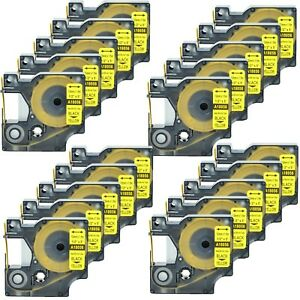 20 Heat Shrink Tube Label Ind Tape Black On Yellow18056 For Dymo Rhino 4200 1 2