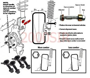 Camber Alignment Correction Kit Front Pair 16mm Bolts Lower Shock Mount Free S H