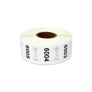 Consecutive Numbers 6001 7000 Stickers Inventory Counting Labels 1 Round 4pk