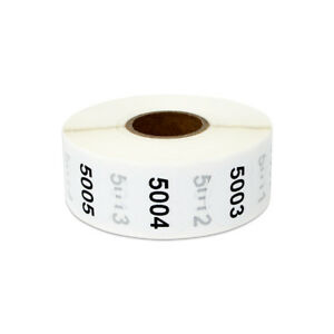 Consecutive Numbers 5001 6000 Stickers Inventory Counting Labels 1 Round 4pk