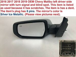 2016 2018 Chevy Malibu Left Side Mirror W turn Signal Blind Spot 23214678