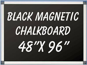 48 X 96 Aluminum Framed Magnetic Black Chalkboard With Tray