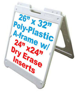 White Sidewalk Sign Dry Erase Panels Message 24 x 24 With Markers