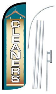 Cleaners Flag Kit 3 Wide Windless Swooper Feather Advertising Sign