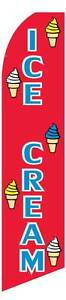 Ice Cream Red Blue Feather Flutter Advertising Swooper Banner 12 Flag 15 Pole