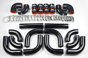 Universal High Quality 2 5 All Black Intercooler 12pc Piping Kit Aluminum