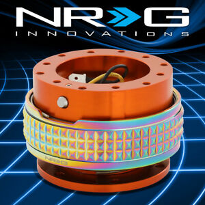 Nrg Aluminum Steering Wheel Quick Release 2 1 Orange Body With Neo Chrome Ring