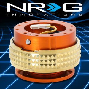 Nrg Aluminum Steering Wheel Quick Release 2 1 Orange Body With Gold Pyramid Ring