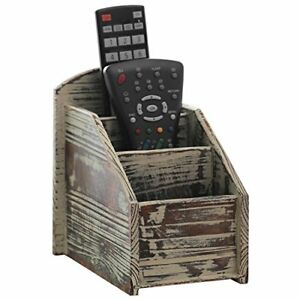 3 Slot Rustic Torched Wood Remote Control Caddy media Organizer Office Supply
