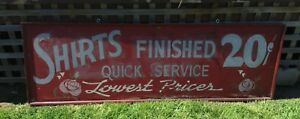 Primitive Antique Laundry Shirts Washed Painted Wood Frame Sign 5 5 Ft Salvage