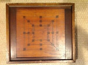 Antique Old Folk Art Checker Board Signed By Maker Double Sided Ornate Sides
