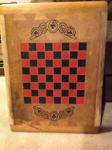 Antique Old Folk Art Checker Board Primitive Hand Painted Ornate Large Heavy