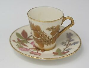 Royal Worcester Blush Ivory Demitasse Cup Saucer Pine Cones Flowers 1221 C 1889