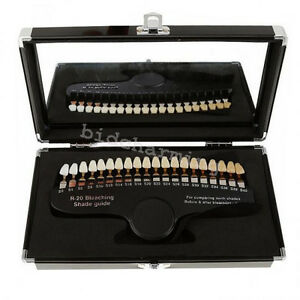 Dental Teeth Whitening Shade Guide Compare Tooth Bleaching 20 Shades Mirror Case