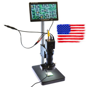 100x Bnc Av Tv Digital Industrial Microscope Camera Set C mount Lens 7 Monitor