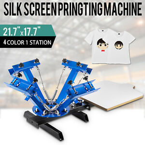 T shirt 4 Color Screen Printing Press Machine Silk Screening Pressing 1 Station