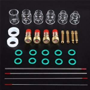 30 Pcs Tig Welding Stubby Gas Lens Pyrex Cup Kit Fits For Tig Wp 17 18 26 Torch