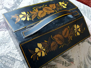 Antique Tin Tea Spice Box Folk Art Toleware Hand Painted Original Early
