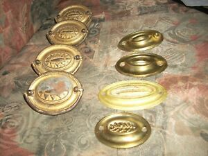 Lot Of 8 Vintage Thick Thin Brass Ornate Dresser Drawer Pulls Handles 5 F S
