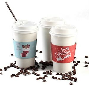 Christmas Paper Coffee Cups With Lids 50 count W Holiday Insulated Sleeves