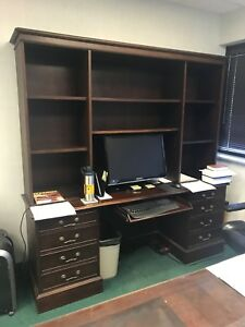 Executive Solid Mahogany Desk With Glass Top Computer Shelving Unit Combo