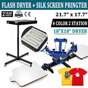 4 Color Screen Printing Press Equipment 2 Station Silk Screening W Flash Dryer