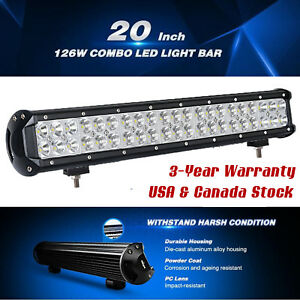 20inch 126w Cree Led Light Bar Flood Spot Combo Driving Offroad 4x4wd Truck Atv