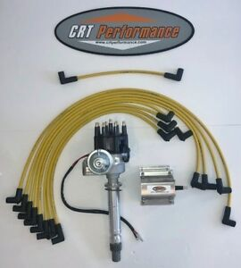 Sbc Chevy 350 Small Hei Distributor Coil Yellow Plug Wires Over Valve Covers